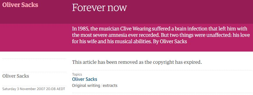 Evidence that modern #copyright is a pathological disease that&#39;s destroying our memories &amp; making us all stupider. #OliverSacks #amnesia  (Ping @doctorow)<br>http://pic.twitter.com/VdrSU73BET