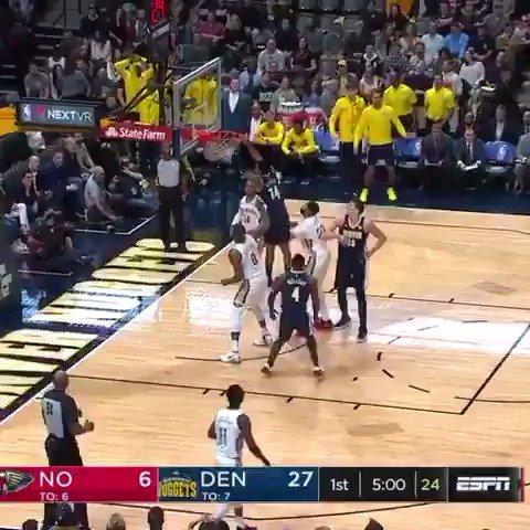 Gary Harris flies in for the putback! #MileHighBasketball  ��: ESPN https://t.co/RT9QmHeKiZ