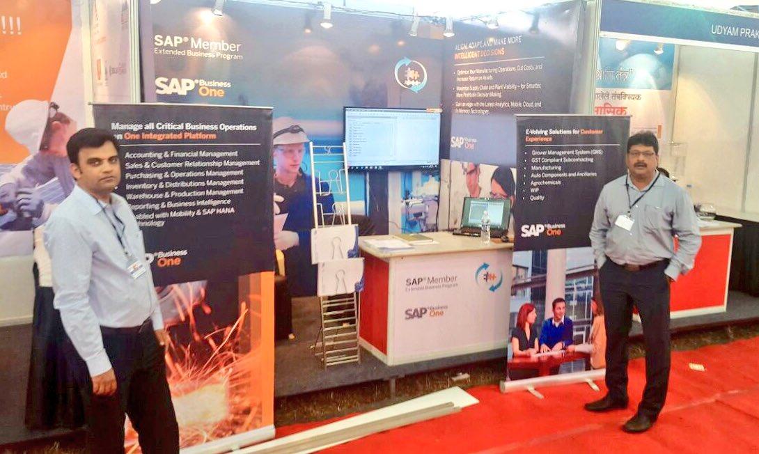 Industria Kolhapur 2017 Expo kickstarted!! @connectfutureit team geared up to showcase #SAPBusinessOne powered  #SAP #ERP solutions for various #Machinary #Industries #SMEs #CII @hrushikeshc @SAPIndia <br>http://pic.twitter.com/XzyemCu821