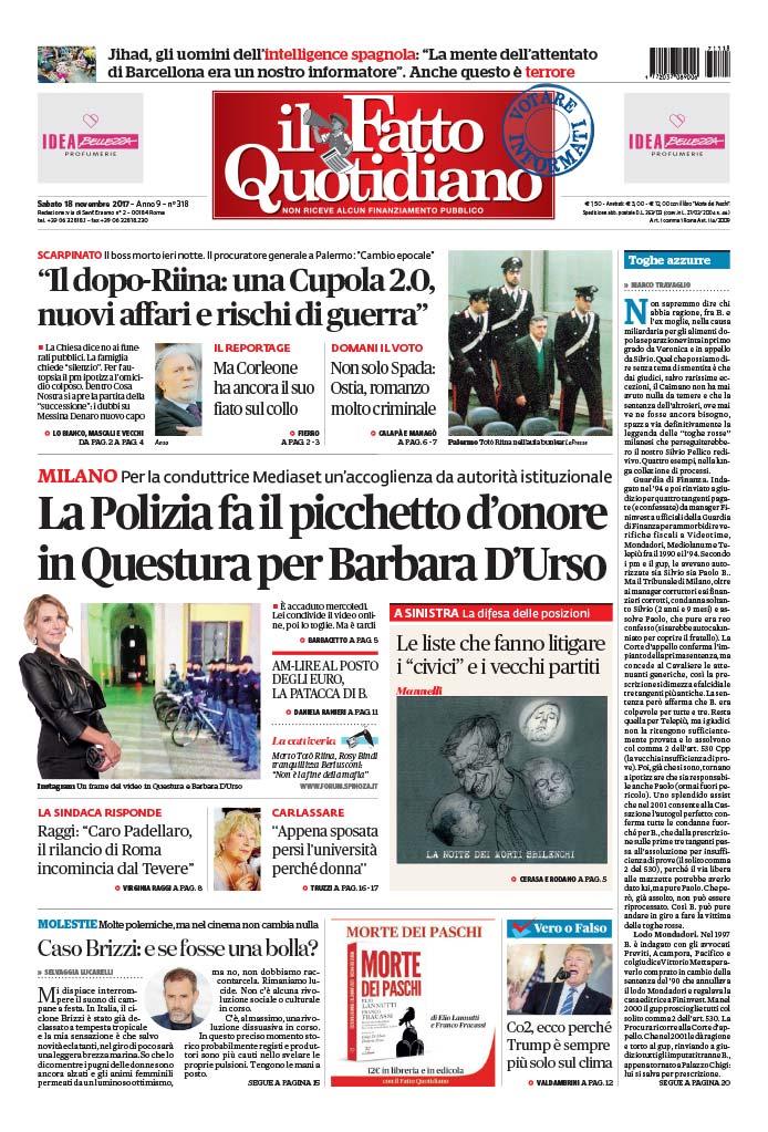 #fattoquotidiano in #edicola #18novembre La polizia fa il picchetto d'onore a Barbara D'Urso LEGGI: https://t.co/58zouq79Ay