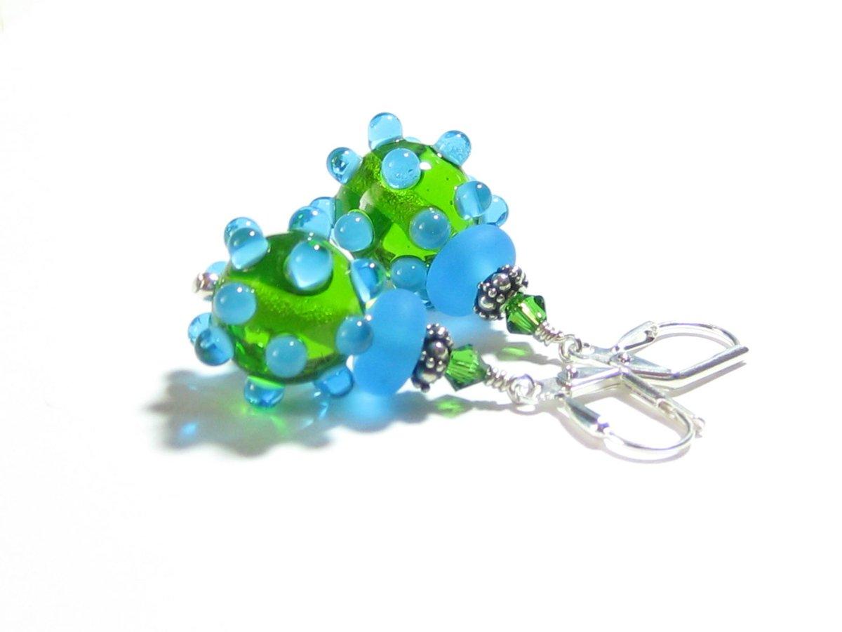 Aqua Green Bumpy Lampwork Glass Dangle Earrings, Sterling Silver Leve…  http:// tuppu.net/565f1713  &nbsp;   #epiconetsy #etsymntt<br>http://pic.twitter.com/Z7DwMXrgXE