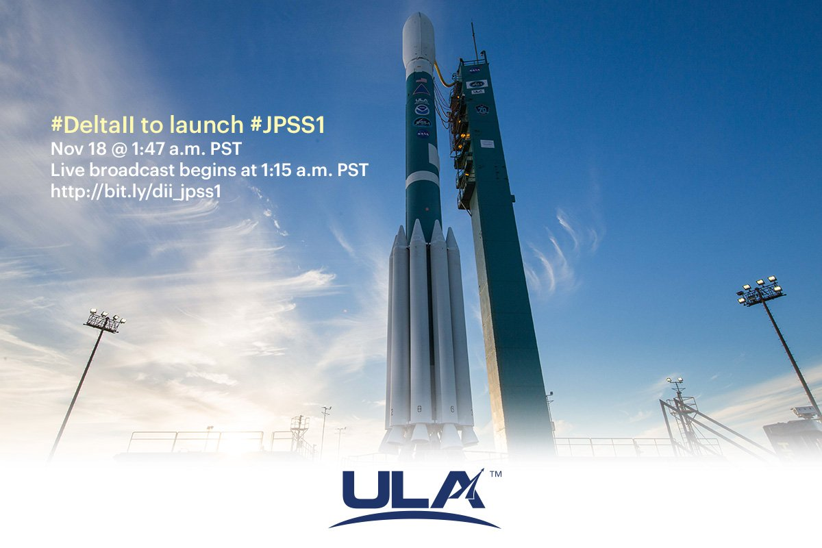 The launch team is on console and readying the Delta II rocket and JPSS-1 weather observatory for the trek into space tonight from Vandenberg Air Force Base, California. Liftoff time is 1:47 a.m. PST (4:47 a.m. EST; 0947 UTC)