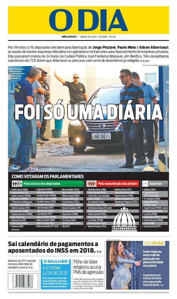 Bom dia, leitores do @jornalodia. Eis a capa de hoje 18/11/2017. #capaODIA. Saiba tudo em https://t.co/FQEIhBBx7Z