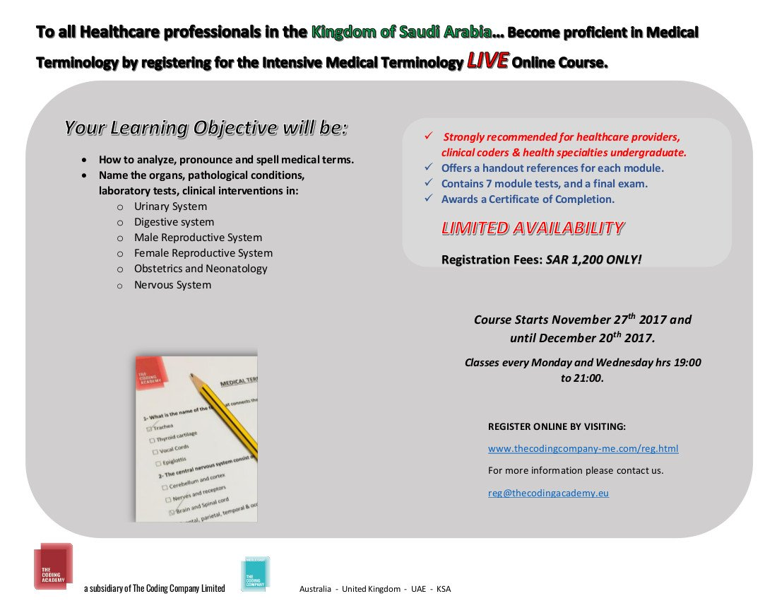 The coding company on twitter enroll in the online medical medical terminology course by the coding academy starting november 27th for saudi arabia register online today httpowntxr30gem8t saudi 1betcityfo Images