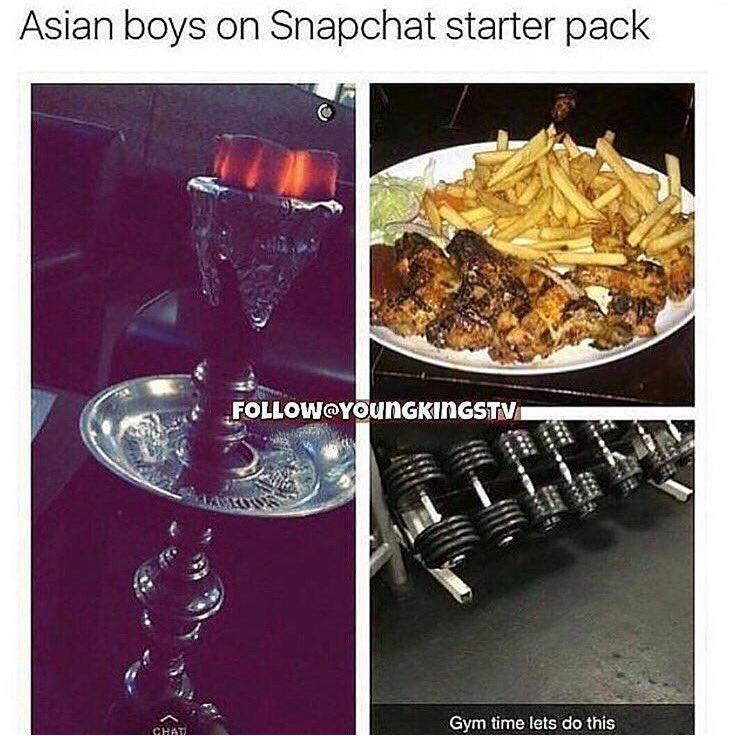 Asian boys on snapchat starter pack    Off topic but had to post, does this remind you of anyone??  #unityfc #unity101fc #unity101fm #unity101communityradio #southampton #hampshire #training #season #match #goal #freekick #header #chicken #nandos #shisha #sheesha #asian <br>http://pic.twitter.com/qAXg5g0Lax