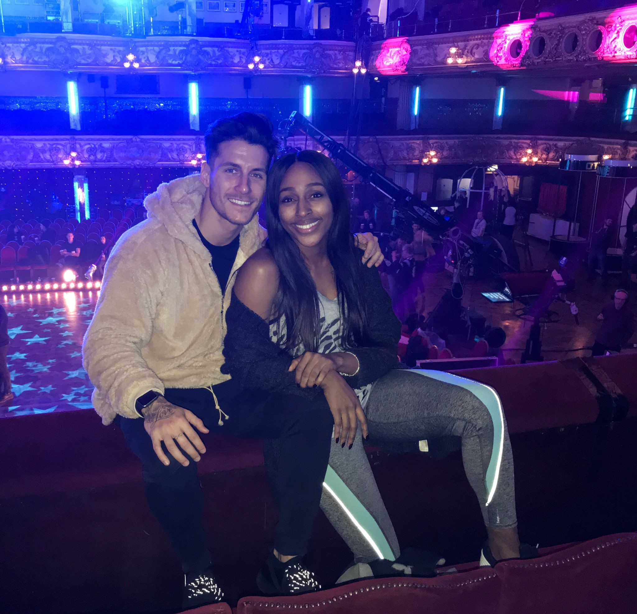 So excited for today! Still pinching myself that we are here! can't wait for tonight ! 💋 @bbcstrictly https://t.co/M4ziMV60Cn