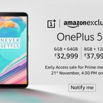 #OnePlus5T ₹32,999 6GB RAM | 64GB ₹37,999 8GB RAM | 128GB On Sale from 21st Nov 4.30PM (Early Access for PrimeMembers) + ₹1,500 Instant discount using HDFC Cards https://t.co/OcNf9m5ii0