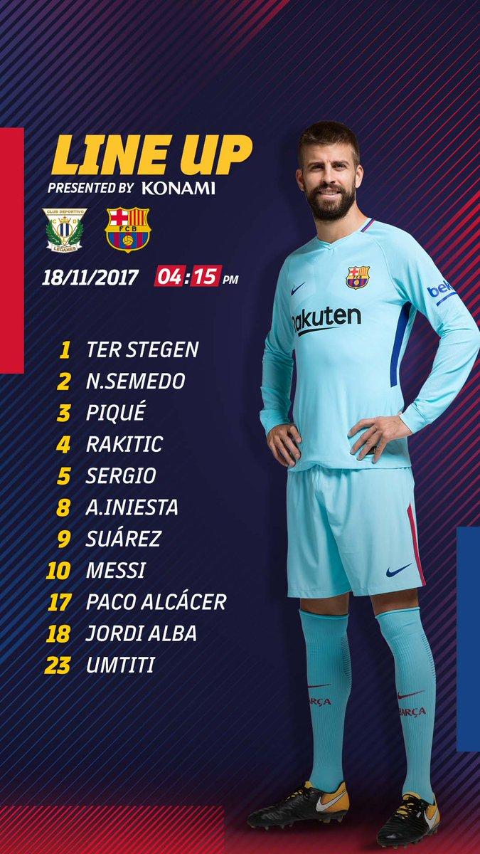 👥⚽️ Suplentes #FCB: Cillessen; Denis Suárez, Paulinho, Deulofeu, Digne, Aleix Vidal e Vermaelen  🔵🔴 #LeganésBarça  👇Abaixo, os titulares #FCBLiveLive