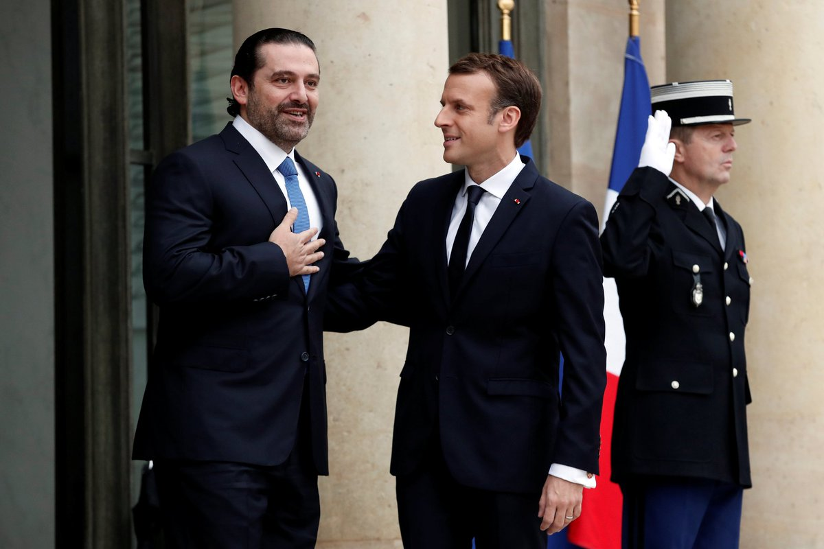 After meeting #Macron at #Elysee Palace #Hariri says he will meet next week with #Aoun in #Beirut to explain position<br>http://pic.twitter.com/jQSiMheYUH