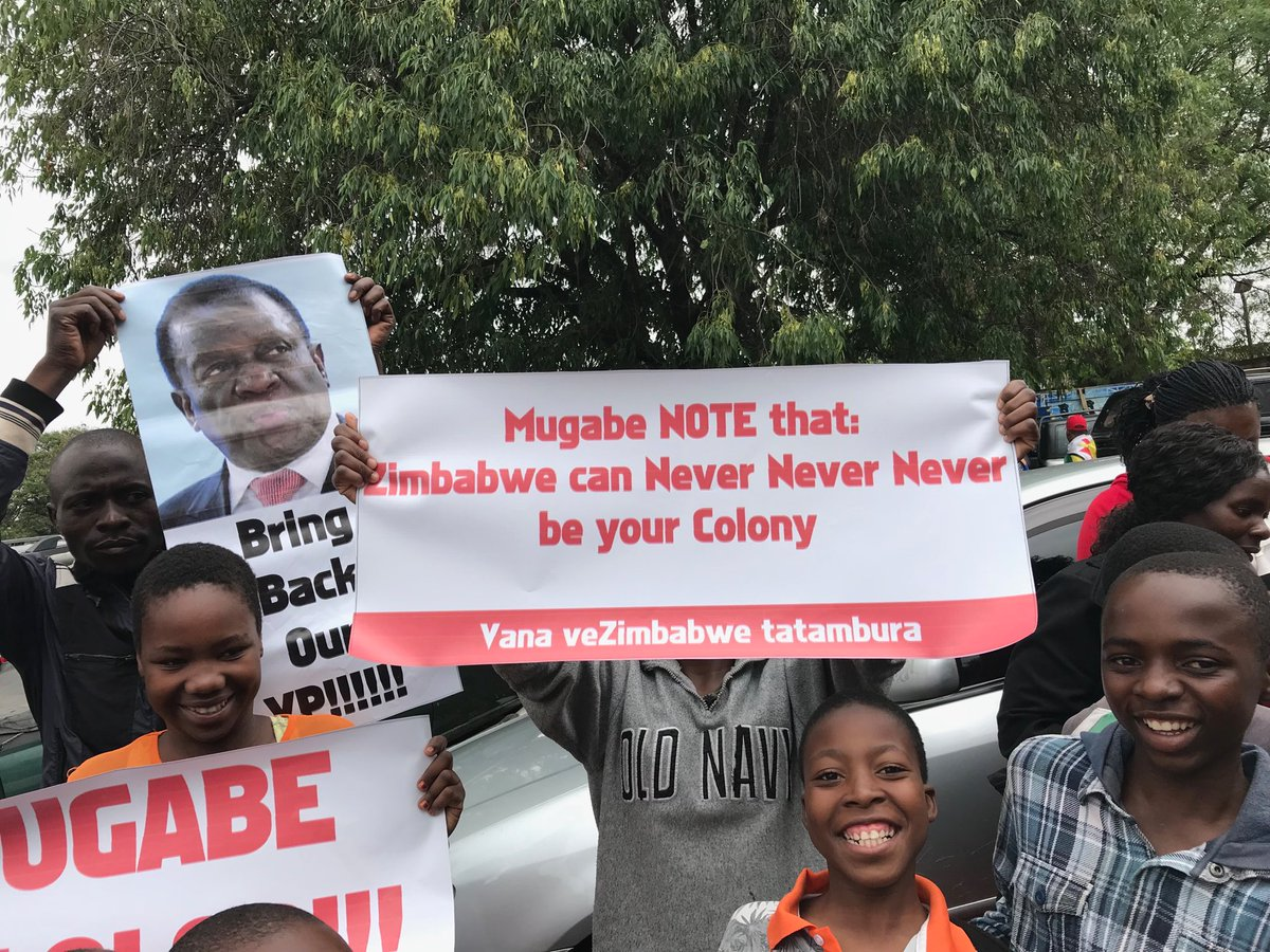 """Zimbabwe can never be your colony."" Another message at today's anti-Mugabe rallies in Harare."