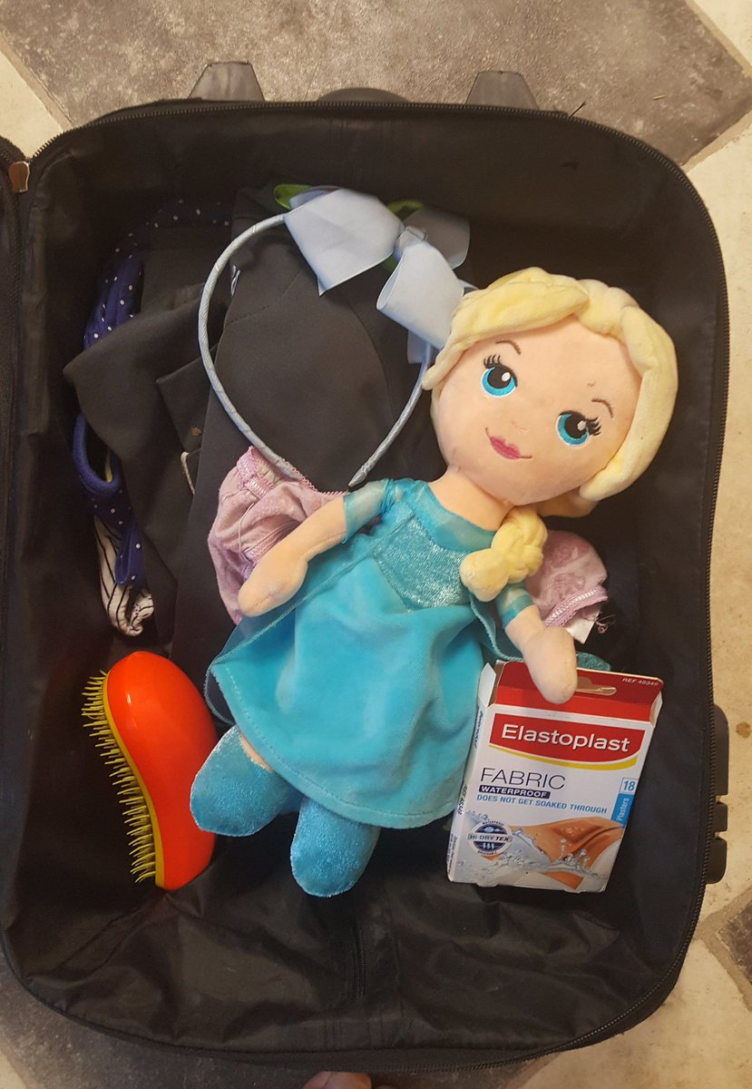 My little one currently packing for a sleepover. Nothing left to chance.