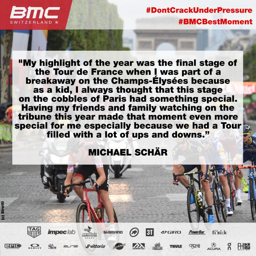 Riding onto the Champs-Élysées during the final stage of @LeTour has to be one of the most iconic images in cycling! This year, @michaelschaer had the privilege of riding in the breakaway on the famous Parisian circuit. That's the stuff of dreams! #BMCBestMoment
