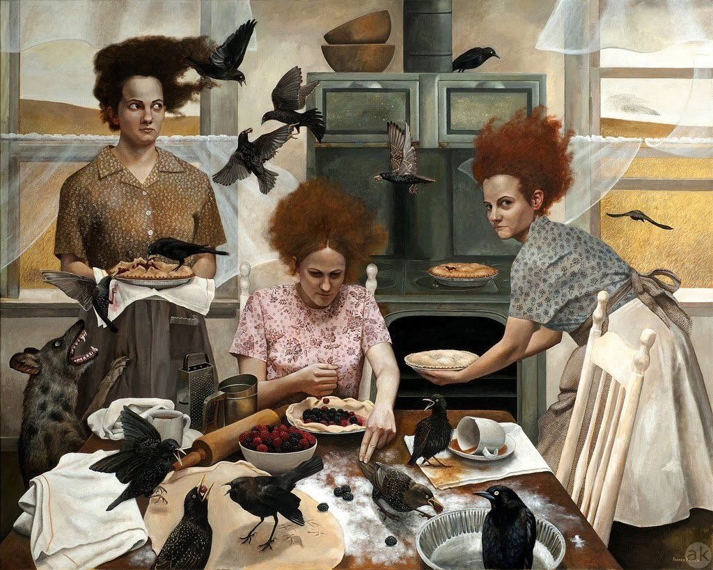 I swear Andrea Kowch is a genius. I've never seen anything  like her paintings. Every one is stunning. Dramatic and sometimes scary  #Wow. <br>http://pic.twitter.com/zg4OXyrwM5