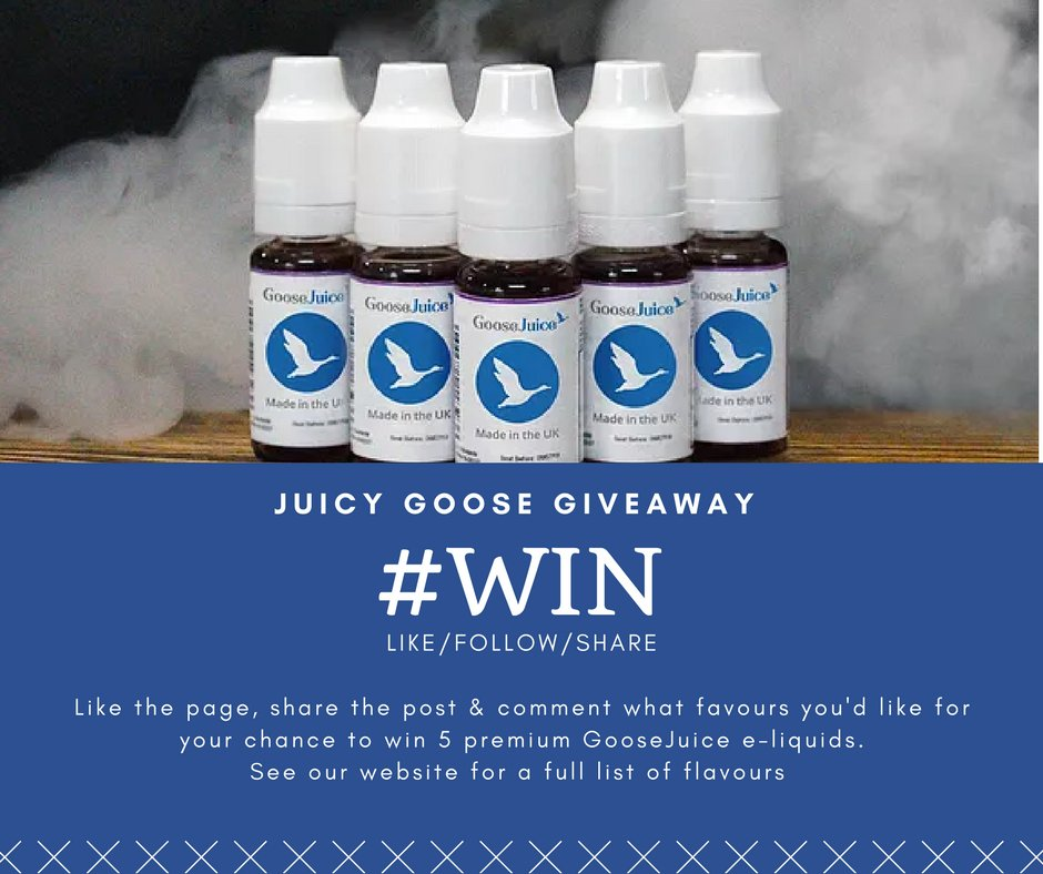 #FOLLOW, #RT &amp; #COMMENT your favourite #Vape #flavour for a chance to #Win this #Weekend! Happy #Saturday #Vapefam! Checkout the #website for a full list of goose juice! <br>http://pic.twitter.com/SG5ITkPfZw