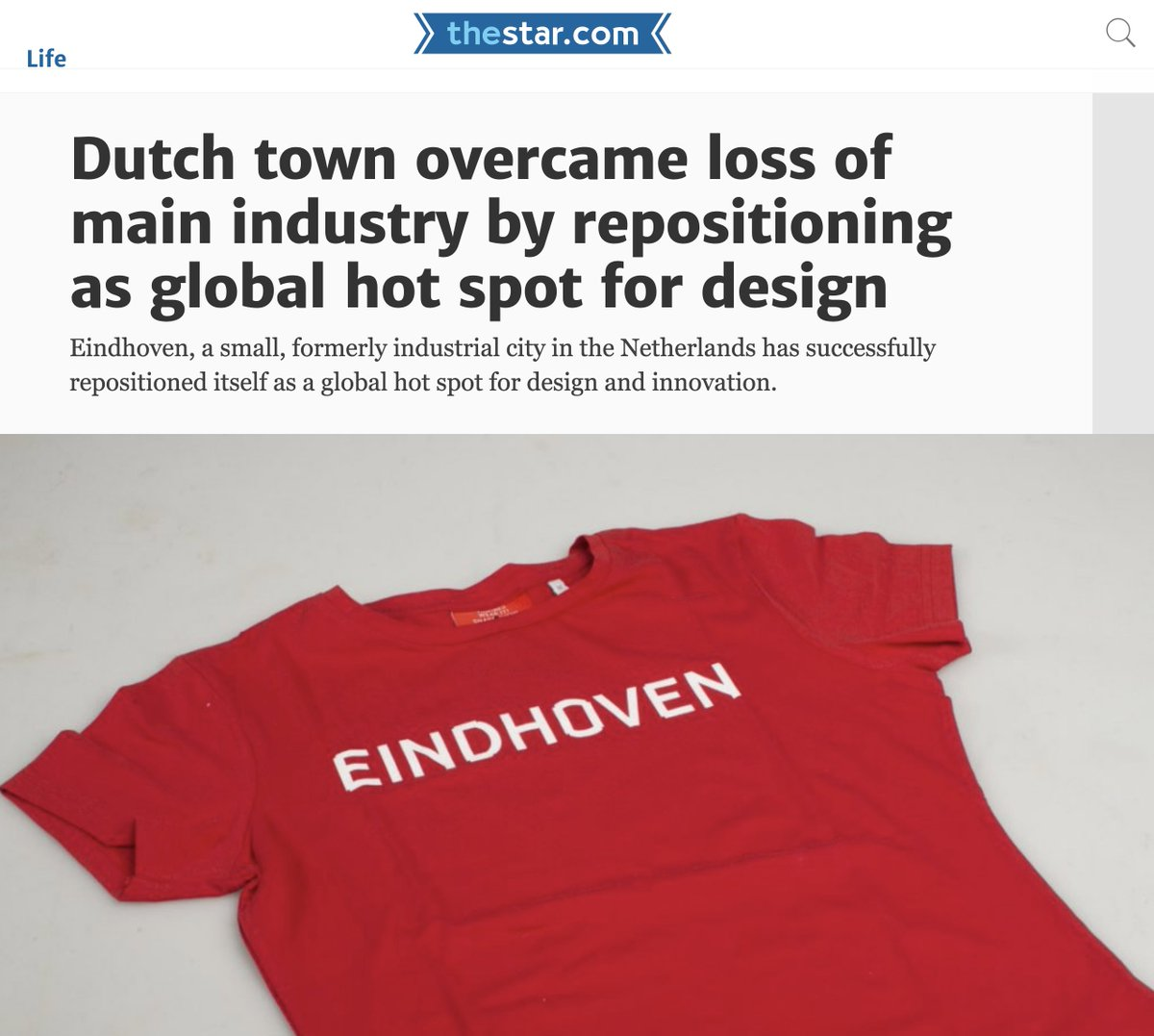 What helps is that the city of #Eindhoven is fully on board with consistent, design-forward branding on everything from its street signs and cultural events, to the look and feel of my T-shirt.  https://www. thestar.com/life/2017/11/0 4/dutch-town-overcame-loss-of-main-industry-by-repositioning-as-global-hot-spot-for-design.html &nbsp; …  via @torontostar<br>http://pic.twitter.com/6YwAawMP2T