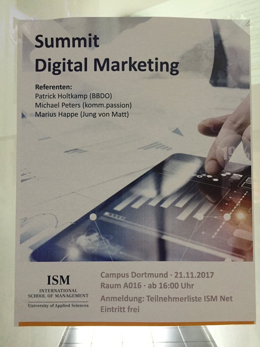 Summit Digital Marketing, 21. November @ISM_Hochschule Campus #Dortmund <br>http://pic.twitter.com/ddkmhEvx0I