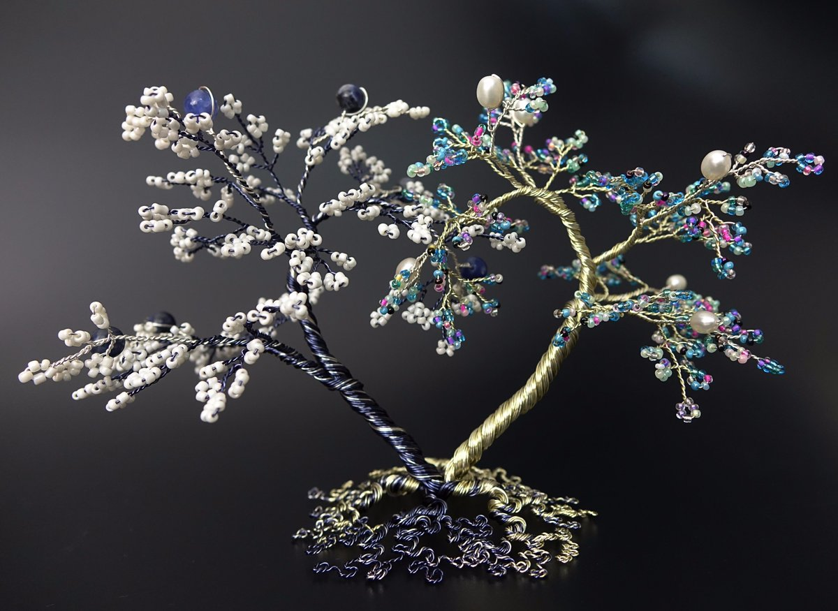 The fifth and final (for now) tree in my blue series. &#39;Inseparable&#39;   #QueenOf #handmade #womaninbiz #ATSOPRO<br>http://pic.twitter.com/mW6QieNz2C