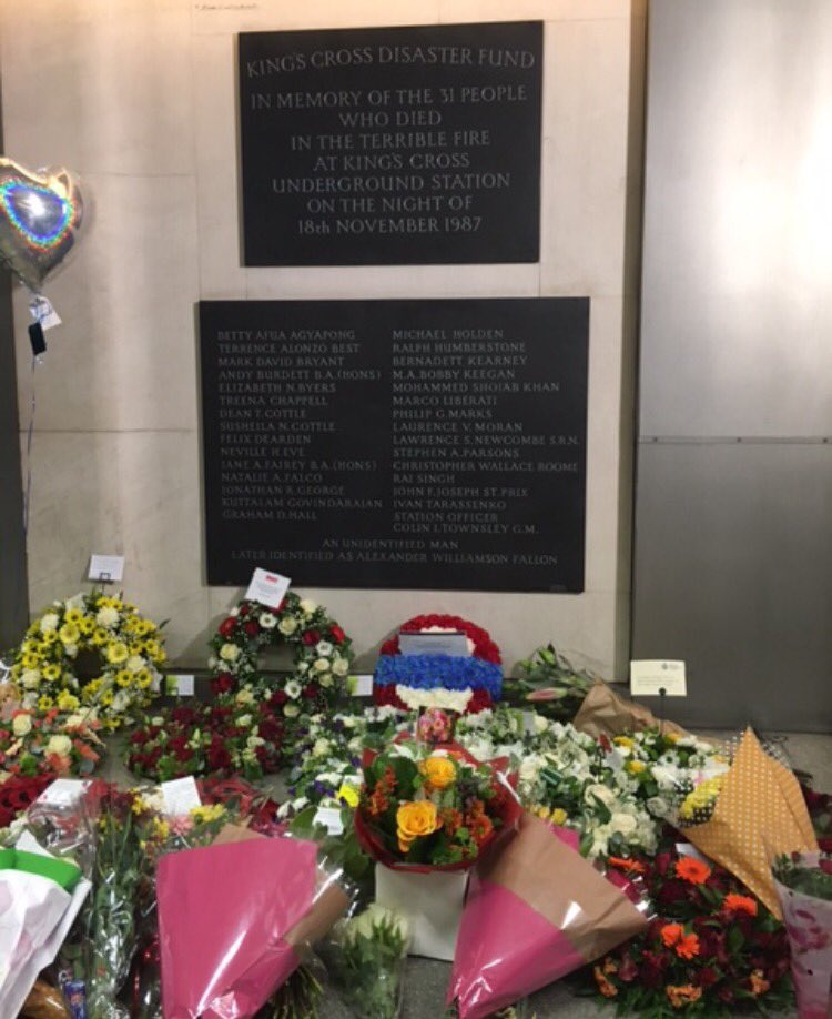Today we paid tribute to the 31 people who lost their lives in the tragic fire at King's Cross station on 18 November 1987. #KX30