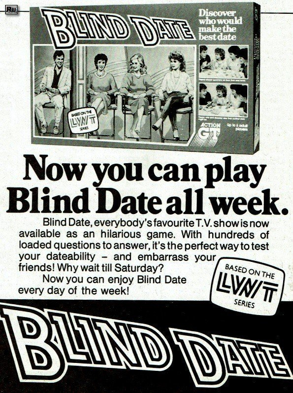 From 30 years ago this month : Now you can play Blind Date all week with this board game.  #80s   @transdiffusion @80sNostalgia<br>http://pic.twitter.com/1EnABnIhy5