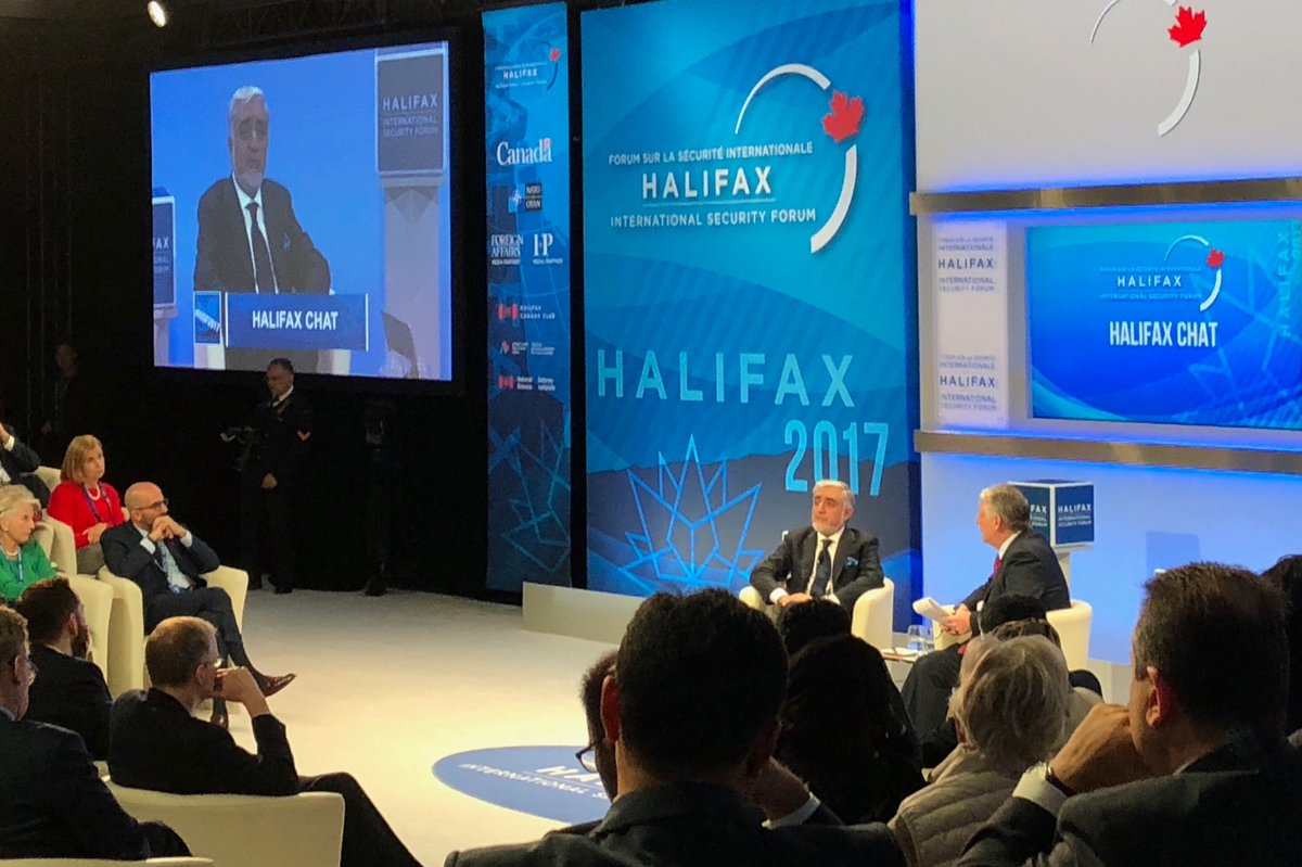 Abdullah Abdullah from Afghanistan at #HISF2017. Appreciates more open-ended US commitment to his country.