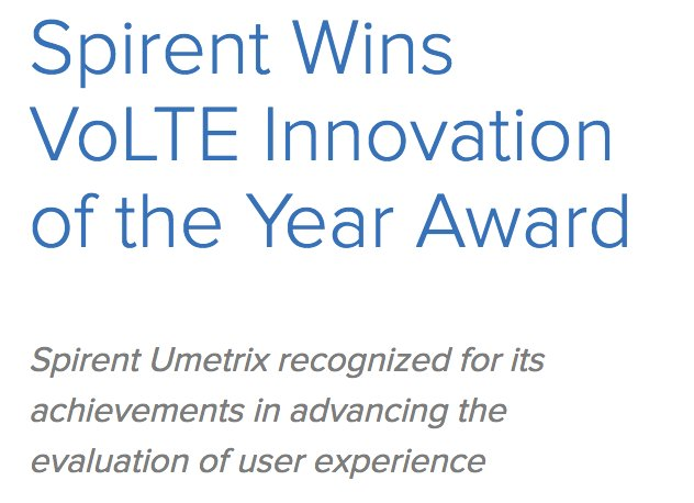 """""""Improvements in time-to-market and quality are possible with modern test strategies that measure the right metrics, in the right environments, at the right time&quot; #VoLTE #VoLTEtesting    https://www. spirent.com/Newsroom/Press _Releases/Releases/2017/November/11-17_Spirent-Wins-VoLTE-Innovation-of-the-Year &nbsp; …  <br>http://pic.twitter.com/TYLPeuU0Fc"""