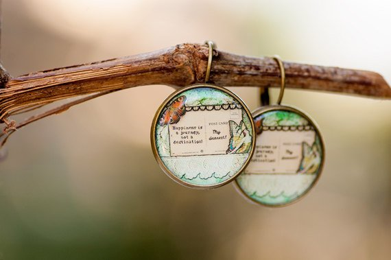 Happiness is a journey Dangle Earrings, Whimsical Earrings, Photo Jewelry, Art Image  https:// seethis.co/OoBBGw/  &nbsp;   #mixedmediaart #inspirational<br>http://pic.twitter.com/Ep0gS2XV3u