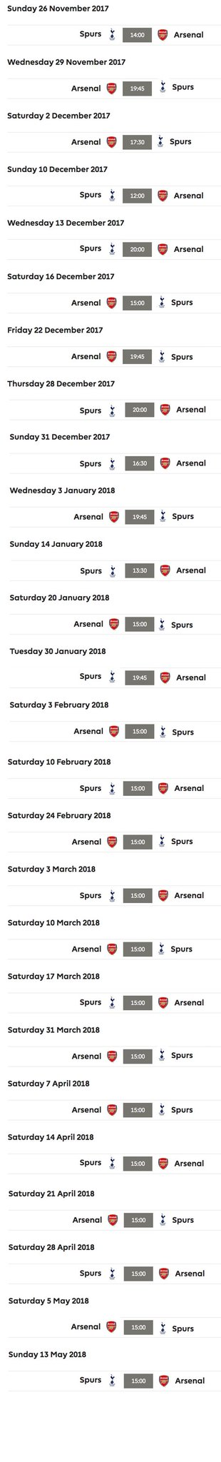 How Arsenal can still win the Premier League: keep showing the team this fixture list. #ARSTOT https://t.co/P0X2DPYY6n