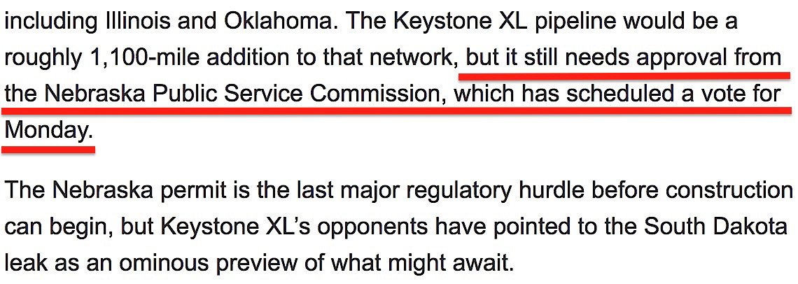 NYT: &quot;With Big Spill to Clean, #Pipeline Owner Seeks #Keystone XL Approval&quot; UP FOR VOTE MONDAY.  Nebraska Public Service Commission:  http://www. psc.nebraska.gov  &nbsp;   and @NEB_PSC Phone: 402-471-3101  https://www. nytimes.com/2017/11/17/us/ keystone-pipeline-transcanada-leak.html &nbsp; … <br>http://pic.twitter.com/SDWFvujai3