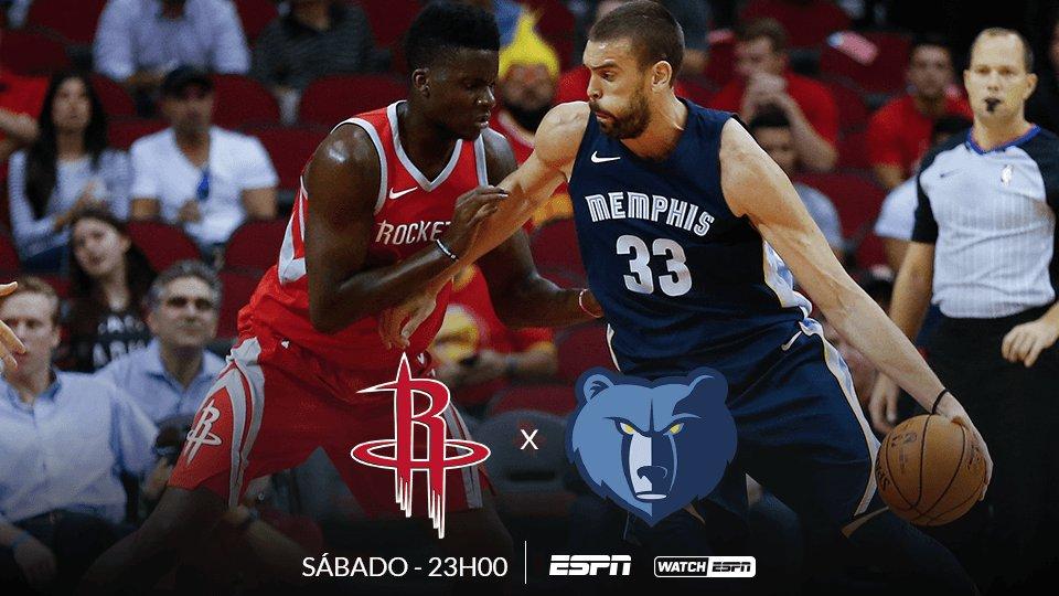 HOJE, às 23h (Horário de Brasília), tem Houston Rockets x Memphis Grizzlies, AO VIVO na ESPN e no WatchESPN #NBAnaESPN