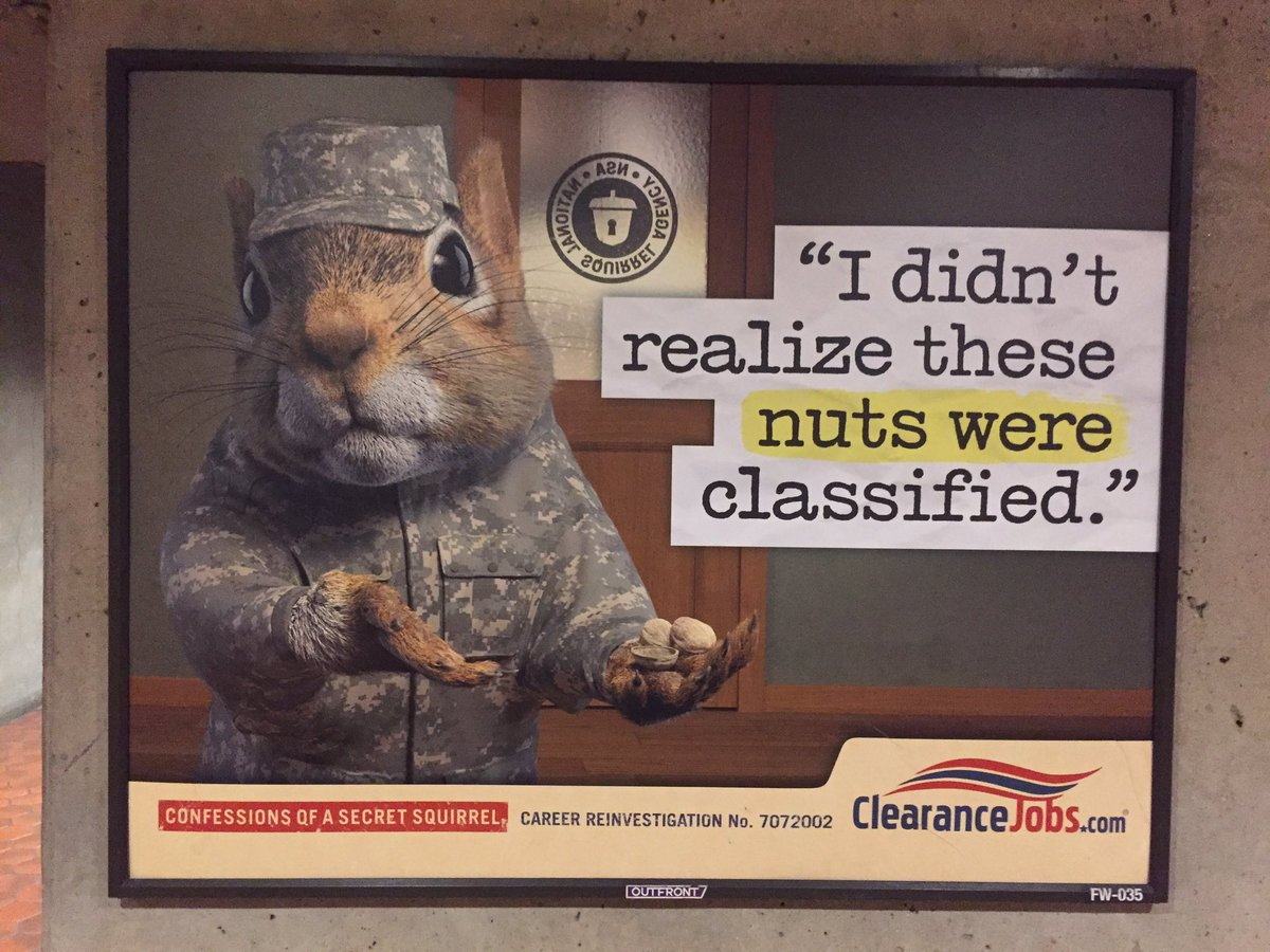 Subway advertisements in Washington. Silly squirrel, of course those nuts were classified.