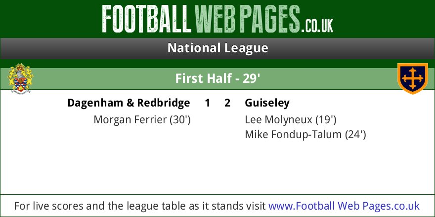 RT @FWPDagenham: GOAL: @FWPDAGENHAM 1-2 @FWPGuiseley - Morgan Ferrier (30') https://t.co/VtYVF1paMY https://t.co/uQIAJApGEo