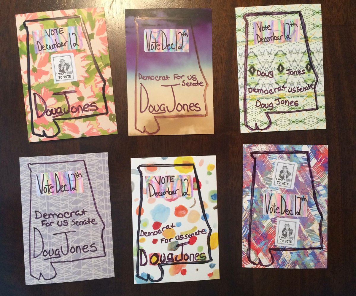 Volunteer writer Karen F.'s Alabama-shapes stencil gives each of her #PostcardsToVoters a carefully-crafted look. If I ever run for office, I hope she writes for me!  #Get in on the fun by emailing Join@TonyTheDemocrat.org or by texting JOIN to 484-275-2229 <br>http://pic.twitter.com/aCGPGtO2ZP