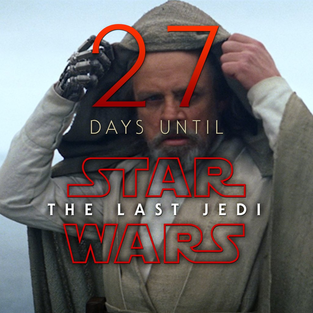 27 days until Star Wars: The Last Jedi #StarWars #LastJedi #EpisodeVIII<br>http://pic.twitter.com/IrnDm9jkJC