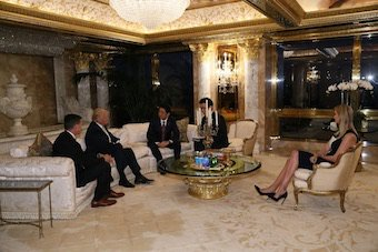 Just after #DaddyTrump was elected, she wasted no time to be with him in meetings at TrumpTower, this photo was w/Japanese elected officials. Japanese men are not generally accustomed to seeing a lot of skin at official Govt business meetings.Why was she there? #ThisIsNotNormal <br>http://pic.twitter.com/ieDFZaTjoU