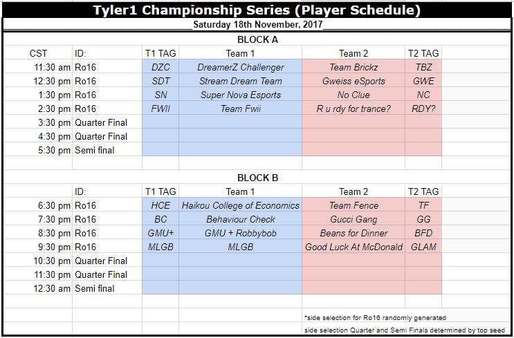 TCS GETTING READY TO START OVER AT TWITCH.TV/COMPETELEAGUE REMINDER IM ONLY CASTING THE FINALS ON THE 24TH. THIS WAS ALL SET UP BY THEM  Schedule: