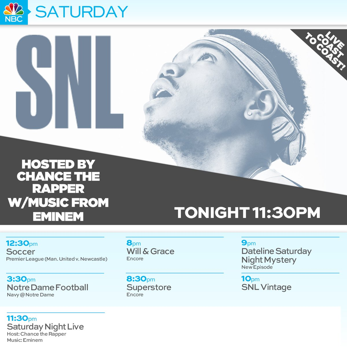 Wwlp 22news A Twitter Tonight On 22news Nbc Snl Is Live Coast To Coast With Host Chancetherapper And Musical Guest Eminem Https T Co Bygz1l68hw Https T Co Pfnvt8ihze