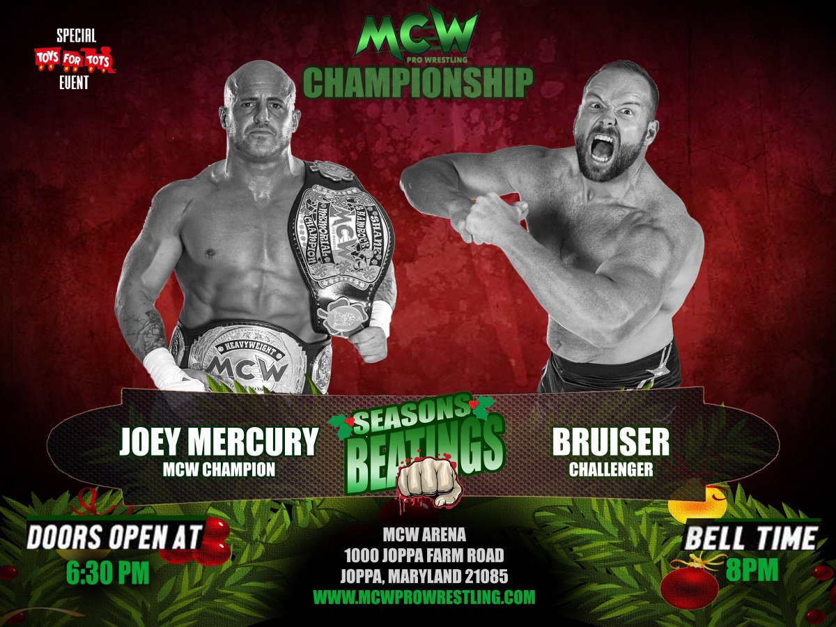 A relentless Bruiser is hot on the trail of #MCW Pro Wrestling Champion @WWEMercury! What will the former #WWE Star have up his sleeve? Will #TheBruiser find his 8th MCW Title reign on Friday 12/1 at #MCWSeasonsBeatings17??   http:// MCWProWrestling.com  &nbsp;   for tickets!<br>http://pic.twitter.com/vYCuNya5OI