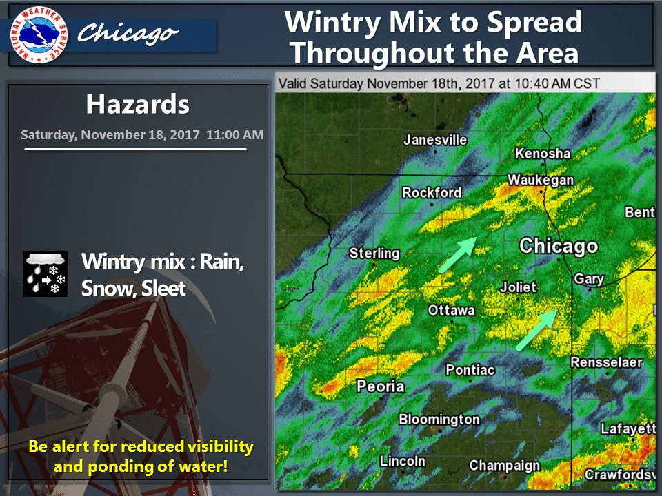 A wintry mix of rain, snow and sleet is expected to spread throughout the area, it could turn to all snow for a time.