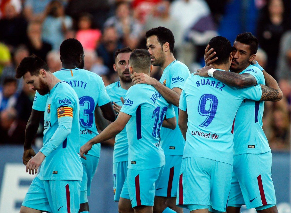 #Liga J12   Victoire facile du leader @FCBarcelona_es sur la pelouse de @CDLeganes (0-3) grâce à un doublé de #Suarez et une réalisation signée #Paulinho. #LEGFCBpic.twitter.com/Bt1exhMTV5