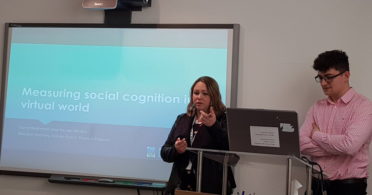 Nicole Strimbu and David Redmond, researchers from our lab, presenting their work on social cognition, mental health stigma and how #VR can be used to explore effects. #sigmacpopup<br>http://pic.twitter.com/LUV4OBT4lw
