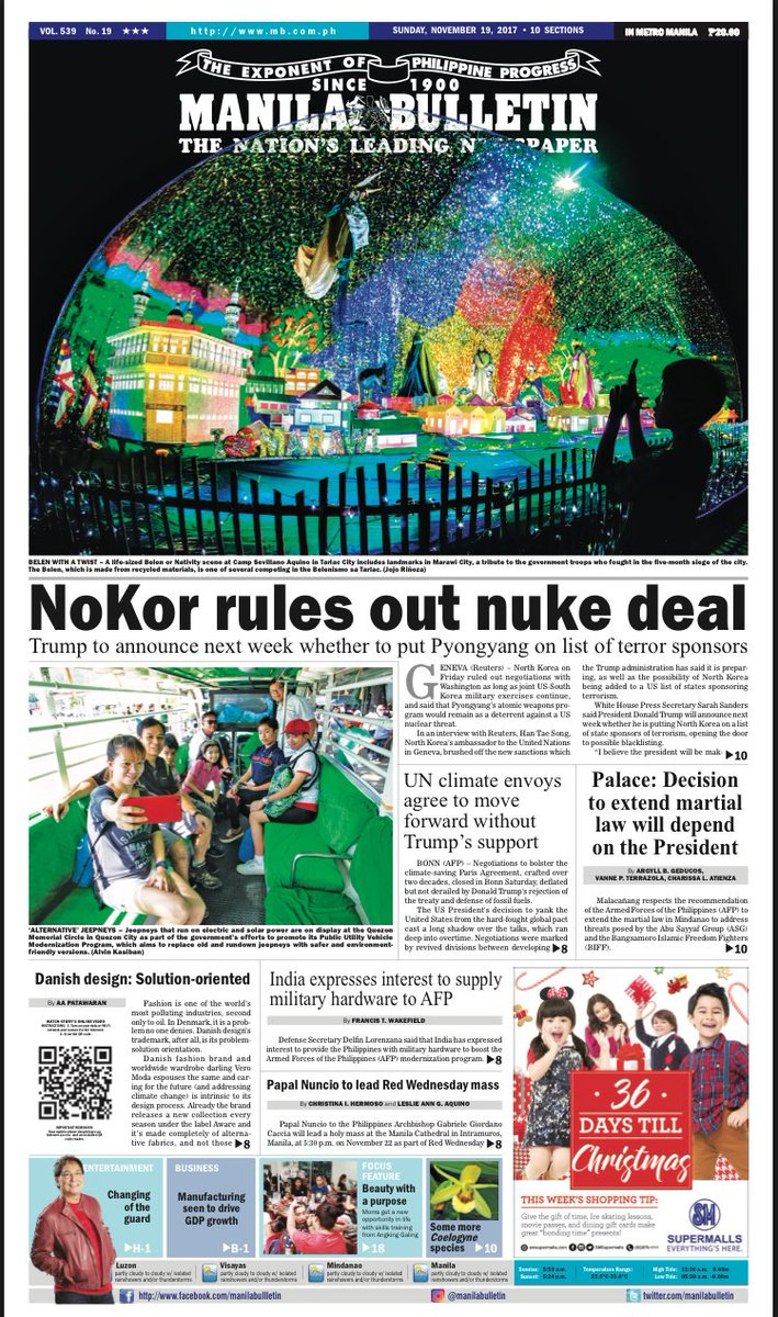 Manila Bulletin Headline for Today (11/19/2017) https://t.co/oiocsN56zR