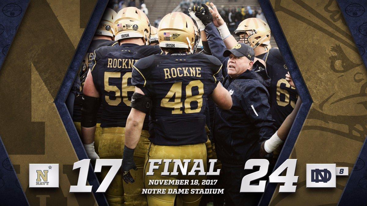 RT @NDFootball: Final score: Navy 17 - #8 ND 24  #GoIrish☘️ #NAVYvsND https://t.co/wK80HkHctV