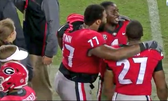 #UGAFamily Have to love this -- #UGA seniors Nick Chubb, Sony Michel and Isaiah @iwynn77 taking it all in.<br>http://pic.twitter.com/HqNpkz7nZ0