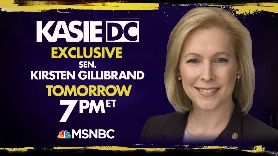 Tomorrow, @SenGillibrand joins @kasie to discuss sexual harassment and more on @KasieDC. Watch the interview at 7pm ET on @MSNBC