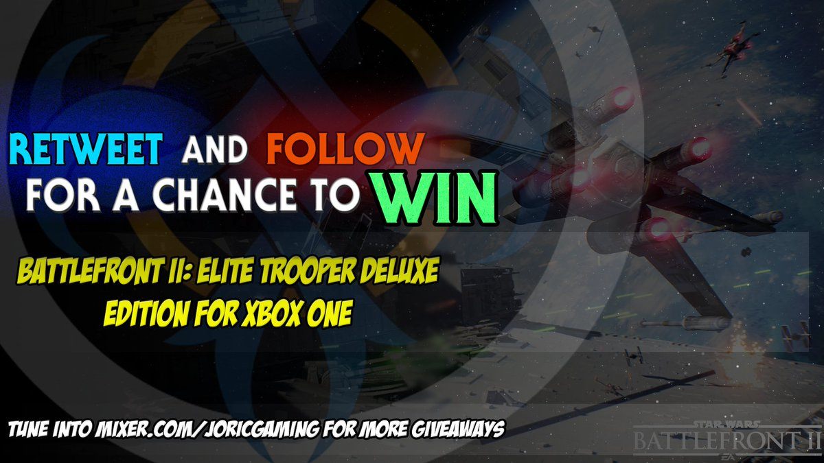 #Xbox code for Star Wars Battlefront II Deluxe Edition. Contest ends 11/25/17 12pm CST and will be drawn from RT/followers and broadcast live on  http:// mixer.com/joricgaming  &nbsp;    Winner will be notified via Twitter DM. #starwars #free #giveaway #battlefront2 #EA #StarWarsBattlefrontII <br>http://pic.twitter.com/bKHB7sKGmg