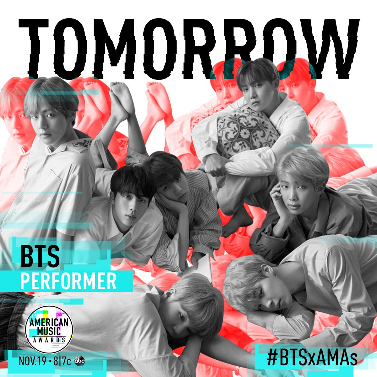 """Just wrapped rehearsals for the @AMAs! Make sure to watch us perform """"DNA"""" TOMORROW night at 8/7c on ABC! #BTSxAMAs"""