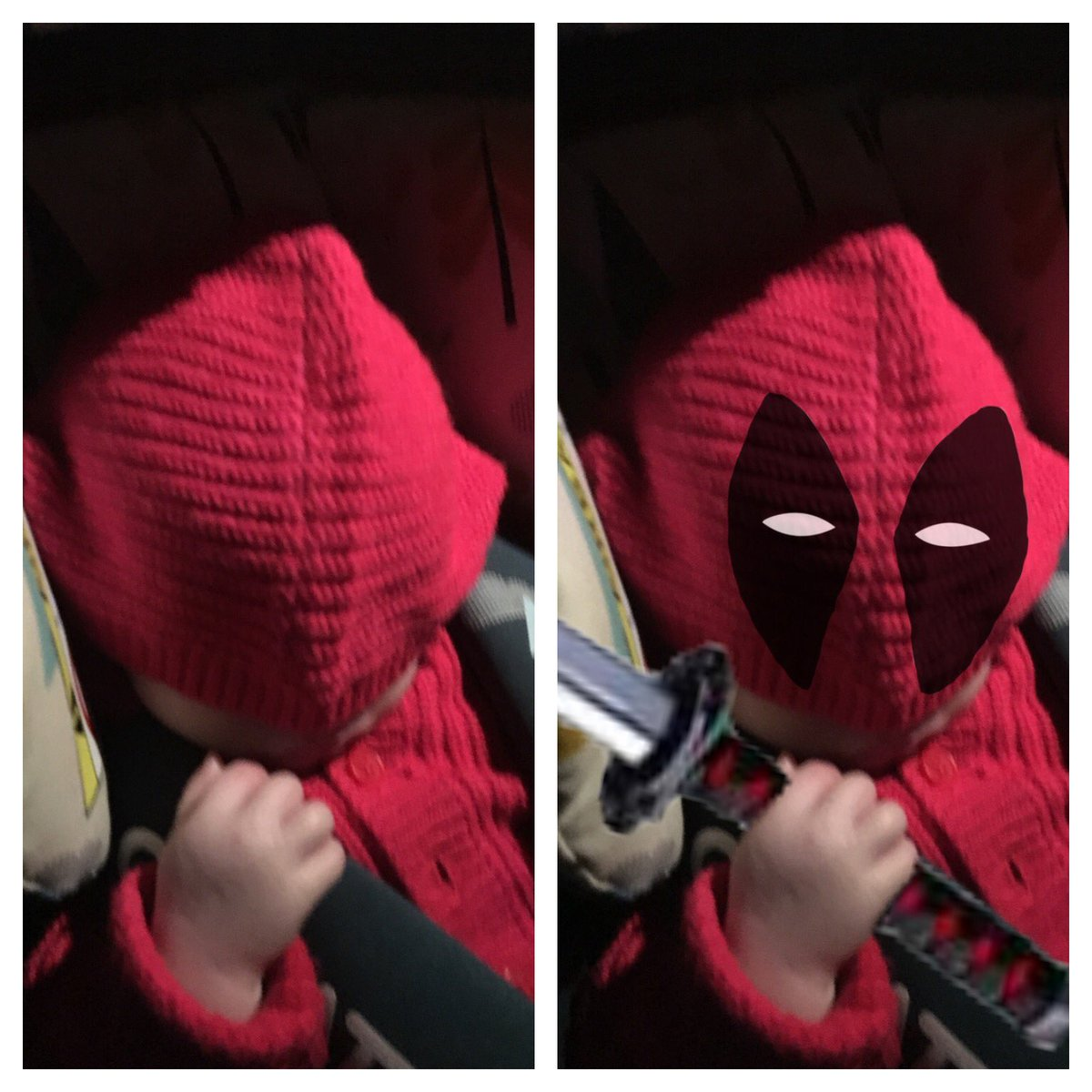 From carpool to Deadpool. At 12 weeks, my baby girl is already a @VancityReynolds fan. She just doesn't know it yet.  #Deadpool #Deadpool2 #Sylvie #Marvelpic.twitter.com/O8QBE2BkPs