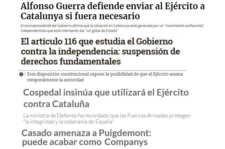 RT @Radiolamina: Nadie ha pensado ni insinuado enviar jamás al ejército contra Catalunya. https://t.co/26Dy0keQvM
