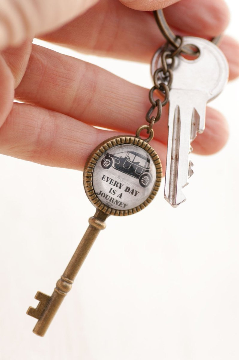 Every Day is a Journey Key Charm, Classic Car Charm Necklace, Photo Key Pendant, Inspirational  https:// seethis.co/kX998R/  &nbsp;   #mixedmediaart #etsy<br>http://pic.twitter.com/1CPyPkICwv