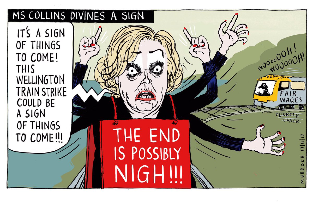 When #Wellington #rail #workers held strike over employers&#39; (Fr multi-n Transdev &amp; Hyundai Rotem) attempts to claw back t&amp;cs Judith Collins saw it as a sign... My @SundayStarTimes #cartoon #nzpol #unions #employment <br>http://pic.twitter.com/Ib65wfZyEr